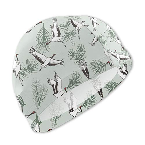 AMZOA Red-Crowned Crane Kids/Adult Swim Caps,Silicone Waterproof Comfy Bathing Cap Swimming Hat for Long and Short Hair