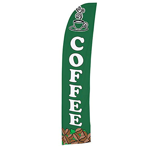 Vispronet Coffee Feather Flag – Made from Tear-Resistant Woven Polyester, Visible from Both Sides – 2.6ft x 11.2ft Swooper Flag – Flag Only by Vispronet