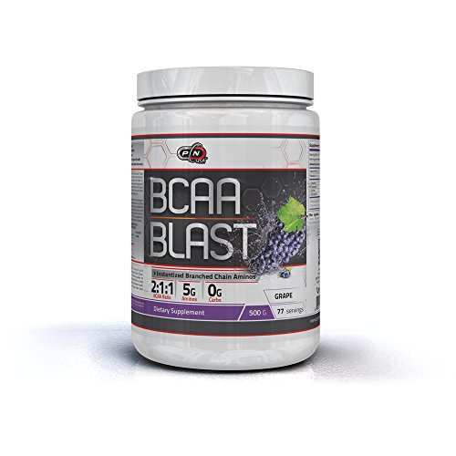 Pure Nutrition USA Bcaa Blast Powder Branched Chain Amino Acid Instantized Sports Supplement 5000mg 500/250 Grams 38/77 Servings Men Women Great Flavors (500g, Grape)