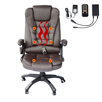 Home Office Computer Desk Massage Chair Executive Ergonomic Heated Vibrating Brown
