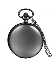 Avaner Classic Black Smooth Polished Metal Case White Arabic Numbers Analog Quartz Modern Pocket Watch Pendant Necklace for Men Women with Chain