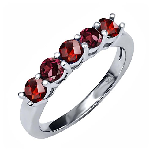 Gem Stone King 1.19 Ct Round Checkerboard Red Garnet Red Rhodolite Garnet 925 Sterling Silver Ring (Size 7)