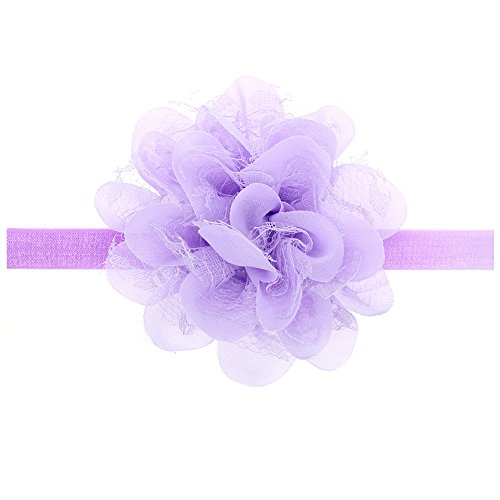 Floral Fall Baby Girls Cute Elastic Chiffon Lace flower Headbands Hair Bands BY-36 (Lavender) (Lavender Hair Band)