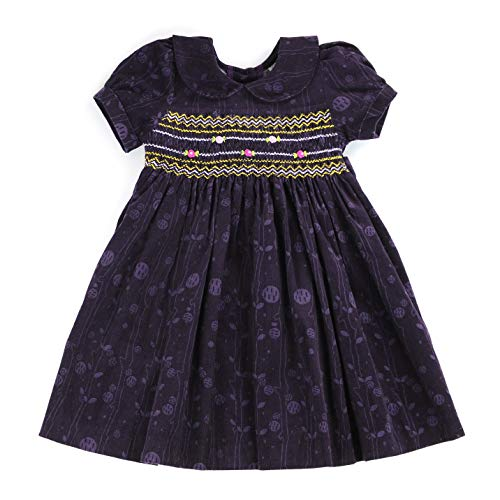 sissymini Margot Midnight Violet- Soft Corduroy Hand Smocked Dress Infant & Toddler ()