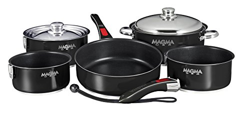 Magma Products, A10-366-JB-2-IN, Gourmet Nesting 10-Piece Jet Black Stainless Steel Induction Cookware Set with Ceramica Non-Stick