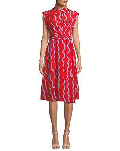 Silk Dvf Wrap Dress (Diane von Furstenberg Avery S/S Silk Shirt Wrap Dress in Song Lines)