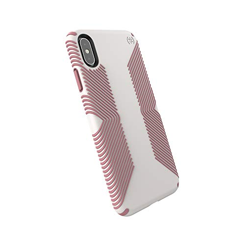 Speck Products Compatible Phone Case for Apple iPhone Xs Max, Presidio Grip Case, Veil White/Lipliner Pink
