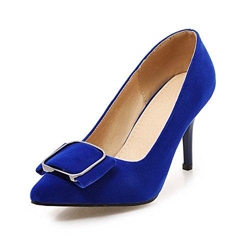 Fashion Heel Moda Puntiagudos Tacones de Aguja de Vestir con Tamaño Grande para Mujer Azul