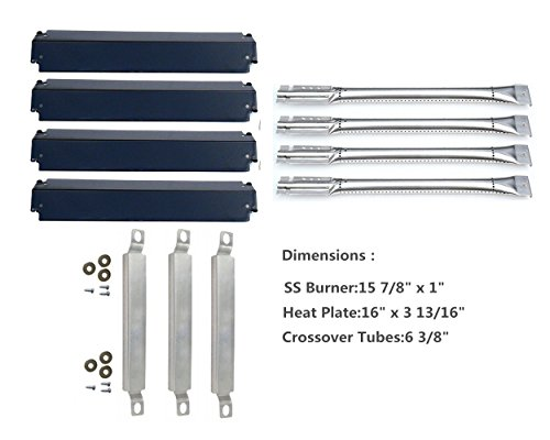 DozyAnt Replacement Stainless Steel Burners, Crossover Tubes and,Porcelain Steel Heat Plates For Charbroil 463248208,463268107,466248208 BBQ Gas Grill
