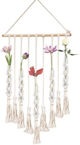 23 Bees, Macrame Wall Hangings Test Tube Vase, Hanging Glass Flower Container, Boho Fringe Decor Planter for Bedroom, Woven Crochet Rope Art Tapestry Decorations for Room