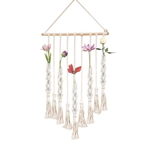 (23 Bees | Macrame Wall Hangings Test Tube Vase | Hanging Glass Flower Container | Boho Fringe Decor Planter for Bedroom | Woven Crochet Rope Art Tapestry Decorations for Room)
