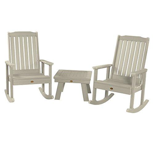 (Highwood AD-KITRKCH1-WAE 2 Lehigh Rocking Chairs with 1 Adirondack Side Table, Whitewash)