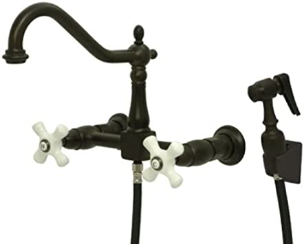 Black Oil Rubbed Brass Kitchen Faucet Bathroom Sink Mixer Tap Wall Mount ssf744