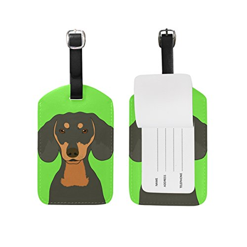 My Daily Dachshund Dog Luggage Tag PU Leather Bag Tag Travel Suitcases...
