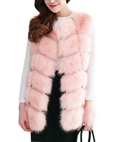 Cappotti Donne Zongsen Maniche Pink Gilet Sintetica Di Senza Pelliccia Giacche Outwear UqTwF6