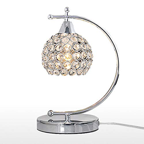 ZWW electronic Modern Minimalist Style Table Lamp, Round Crystal Lamp Shade Wedding Room Small Night Light, Iron Lamp Body Bedroom Bedside Gift Lamp (Chrome Plated Skeleton)