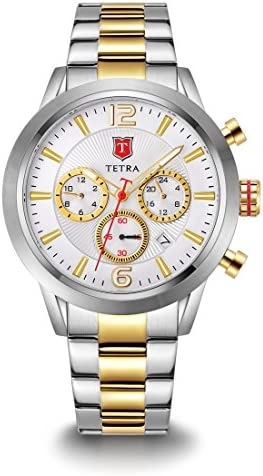 Tetra Men s Italian Design Gold Torino Viaggio Solid Stainless Steel Bracelet Dual-Time Swiss Luminous Watch with Professional Water Resistance of 330 Feet