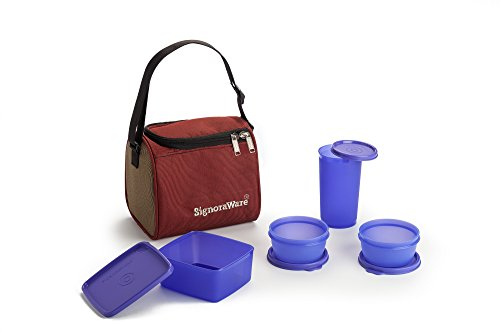 Signoraware Best Lunch Box with Bag, Violet