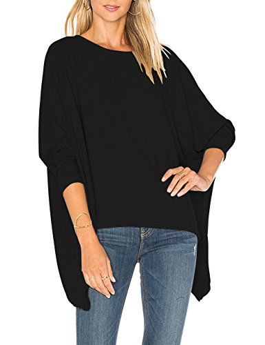 Drop Sleeve T-shirt (ALLY-MAGIC Womens Long Batwing Sleeves Loose Pullover Slouchy Casual Top Blouse T-Shirt (Free Size, Black))