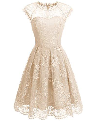 Bbonlinedress Vestido de Fiesta Floral del Oscilación del Cóctel del Cordón del Cuello Redondo de la Vendimia de Las Mujeres Champagne