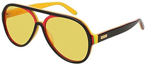 Gucci Black Stripes - GUCCI 0270 Black Red Yellow Stripe Retro Aviator Unisex Sunglasses GG0270S