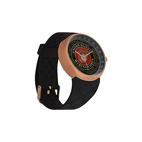 Novelty Gift USMC United States Marine Corps Men's Rose Gold Plated Resin Strap Watch by USMC Watch (Image #2)