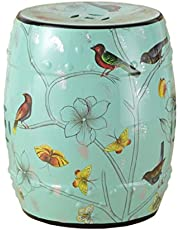 New Classical Dressing Stool Chinese Style Change Shoes bench Round Small Stool Hand-painted Flowers And Ceramic Drum Stool Antique Benches (26 * 38cm) (Color : #2) Joys