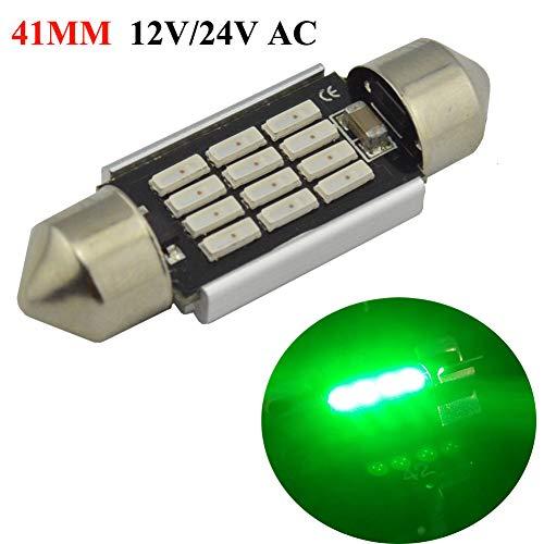 Ac Festoon 12v Lamp - Ruiandsion 2pcs 41MM Festoon LED Bulbs Canbus 3W AC/DC 12V 24V High Power Bright 12 SMD 4014 Interior Dome Light, Map Light (Green)