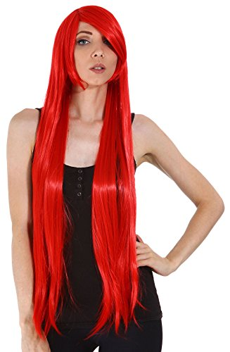 Red Queen Black Bob Wig (Women's Long Straight Full Hair Wig for Cosplay / Halloween Costume, Red)