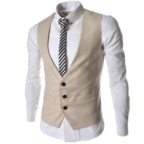 Whatwears Mens Solid Color Trendy Waistcoat 3 Buttons Slim Fit Corset Vest (XXL, Beige)