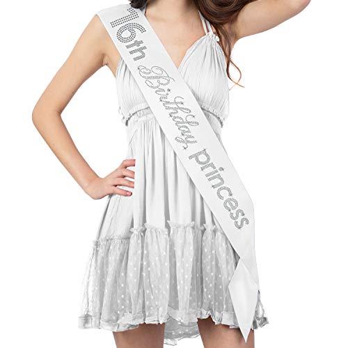 Sweet 16 Party Supplies - Crystal Rhinestone 16th Birthday Princess Premium Satin Sash - 16th Birthday Decorations - White Sash(16.Bdy.Prnc RS) WHT -