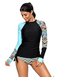 Women's Long Sleeves Rash Guard Athletic Swim Aztec UPF 50+ Tankini Sets Swimsuit
