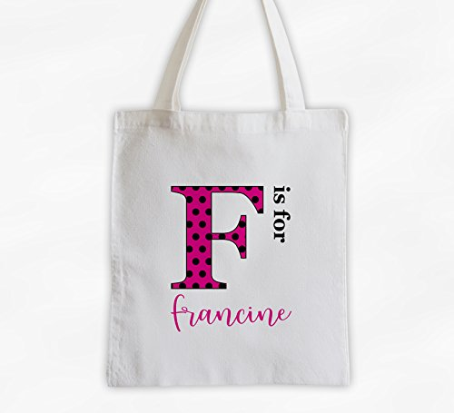 Polka Dot Monogram Personalized Cotton Canvas Tote Bag with Script Name - Letter is for Name (3039)