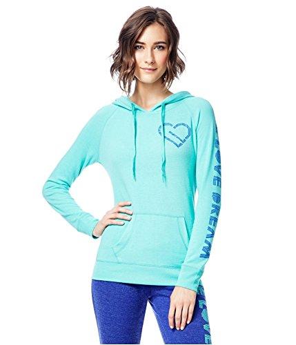 (Aeropostale Womens Heart Logo Hoodie Sweatshirt, Green, X-Large)