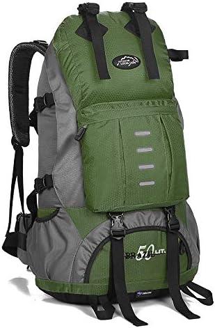 サイクリングバックパック Minternalフレーム50lバックパック防水ハイキングデイパックバックパックパッド入りバックサポートストラップW /防水レインカバー男性用女性 (Color : Green, Size : 60*30*25cm)