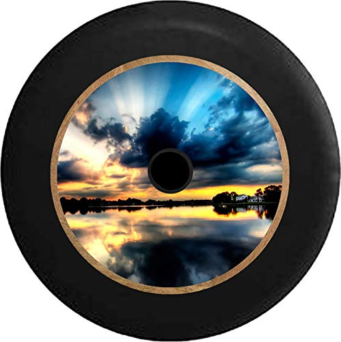 Pike Outdoors JL Series Spare Tire Cover Backup Camera Hole Full Color Lakefront Sunset Beaming Sky Vacation Cottage Black 32 in ()