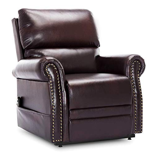 Lift Chair Recliner Faux Leather,JULYOFX 350 LB Heavy Duty Infinite Position Power Lift Recliner Chair Lifts You Up with Remote Electric Stand Up Lift Chair W/Storage Pocket for Elderly Adults Brown