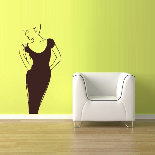 Wall Vinyl Decal Sticker Bedroom Decal Sexy Model Fashion Girl Dress z1774