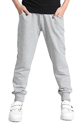 AOWKULAE Boys' Cotton Sweatpants Jogger Pants Trousers