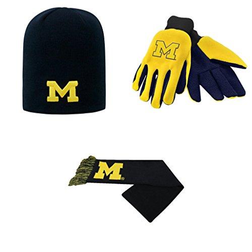 NCAA Michigan Wolverines Classic Beanie Hat Grip Work Glove And Team Logo Scarf 3 Pack Bundle (Wolverine Mascot)