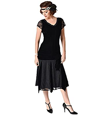 Unique Vintage 1920s Style Black Velvet Short Sleeve Millie Flapper Dress