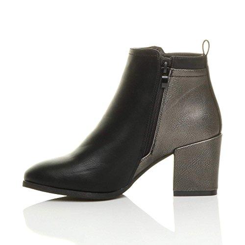 Black Contrast Size Womens Smart Heel Ankle high Block Boots Gold Metallic Ladies Ajvani Zip qO7Z01ZUW