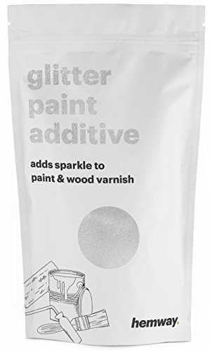 Glitter Aerosol Spray (Hemway (White) Glitter Paint Additive Crystals 100g / 3.5oz for Acrylic Latex Emulsion Paint - Interior Exterior Wall, Ceiling, Wood, Varnish, Dead flat, Matte, Gloss, Satin, Silk)