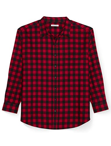 Amazon Essentials Men's Big & Tall Long-Sleeve Plaid Flannel Shirt, Red Buffalo, 4X