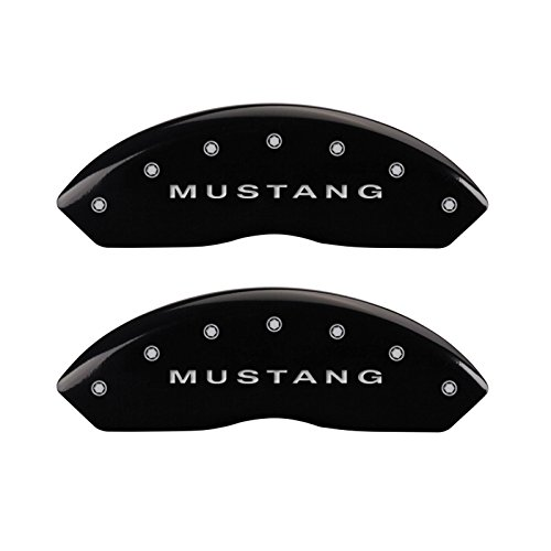 MGP Caliper Covers 10017SMBPBK Black Brake Covers Engraved with Silver Mustang/Bar & Pony (S197) (Set of 4 )