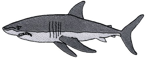 Great White Shark Embroidered Patch Jaws Iron-On Applique Ocean Fish