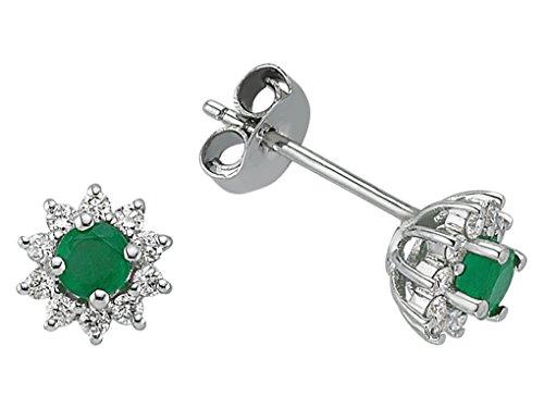 Boucles d'Oreilles Emeraudes et Diamants-Femme- or Blanc 217E0023