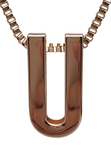 Jiary 26 Letters Alphabet Initial Necklace Charm Rose-Gold Pendants Ring Chain for Women Girls Men (U)
