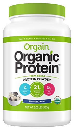 - Orgain Organic Plant Based Protein Powder, Cookies & Cream - Vegan, Low Net Carbs, Non Dairy, Gluten Free, Lactose Free, No Sugar Added, Soy Free, Kosher, Non-GMO, 2.03 Pound