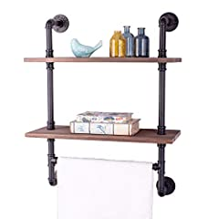 Display books, towels, or other home decor proudly with this rustic industrial pipe shelf from ALTAM.  Whether you're decorating the bathroom and need a way to add beautiful depth when displaying personal items, or you just want to add some c...